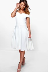 Boohoo Off The Shoulder Midi Skater Dress Ivory