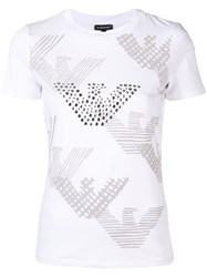 Emporio Armani Logo And Studded Eagle T Shirt White
