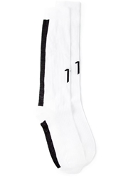11 By Boris Bidjan Saberi Logo Ribbed Socks White