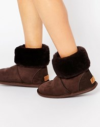 Just Sheepskin Albery Slipper Boots Chocolate Brown