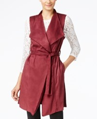 Grace Elements Faux Suede Belted Trench Vest Burgundy