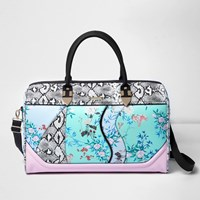 River Island Womens Blue Floral And Snake Print Weekend Bag