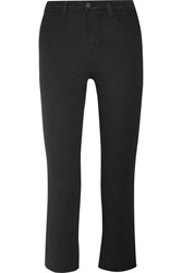 L'agence Serena Cropped Mid Rise Bootcut Jeans Black