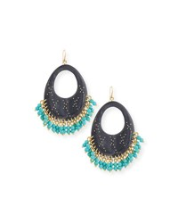 Ashley Pittman Vuka Beaded Dark Horn Earrings Brown