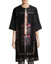 Etro Floral Embroidered Kimono Topper Coat Black Black Pattern