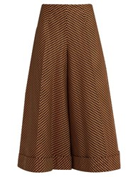 Delpozo High Rise Tweed Culottes Orange Multi