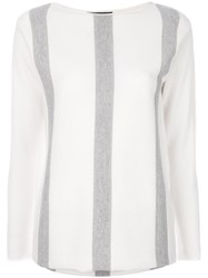 Fabiana Filippi Striped Loose Fit Pullover Polyamide Polyester Cashmere White