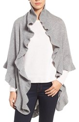 Nordstrom Women's Cashmere Ruffle Triangle Wrap Grey Medium Heather