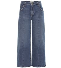 Current Elliott Wide Leg Cropped Jeans Blue
