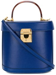 Mark Cross Grain Benchley Tote With Tortoise Handle Blue
