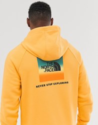 The North Face Raglan Red Box Hoodie In Yellow