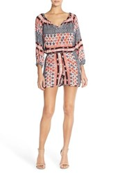 Women's Fraiche By J Paisley Print Long Sleeve Romper Jasmin Orange