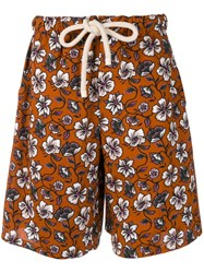 Loewe Hawaiian Pattern Swim Shorts Brown