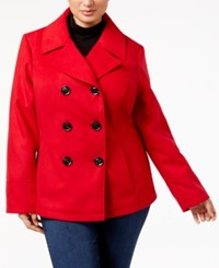 Celebrity Pink Juniors' Plus Size Double Breasted Peacoat Red