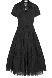 Zimmermann Winsome Cotton Gauze And Lace Midi Dress Black