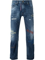 Diesel Embroidered Jeans Blue