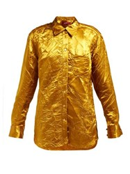 Sies Marjan Sander Crinkled Satin Shirt Gold