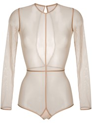 Ann Demeulemeester Long Sleeve Sheer Body Nude And Neutrals