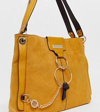 River Island Slouch Bag With Ring Detail In Yellow