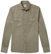Brunello Cucinelli Cutaway Collar Cotton Shirt Green