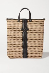 Anya Hindmarch Neeson Tall Woven Leather Trimmed Rope Tote Neutral