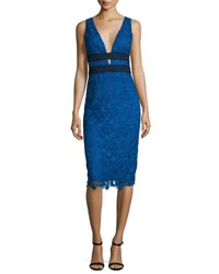 Diane Von Furstenberg Viera Lace Sleeveless V Neck Sheath Dress Neptune Blue Black Neptune Blue Blac