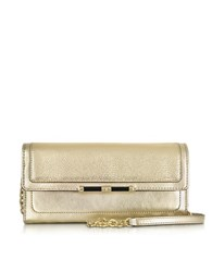 Diane Von Furstenberg 440 Currency Mini Metallic Lizard Embossed Wallet Clutch Gold