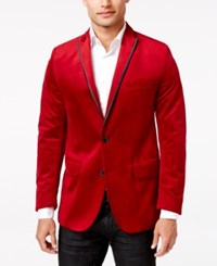 Inc International Concepts Men's Rex Classic Fit Velvet Blazer Only At Macy's Red