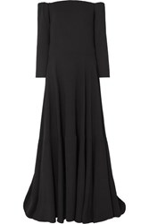 Valentino Tiered Off The Shoulder Silk Cady Gown Black