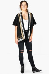 Boohoo Aztec Cape Cardigan Black