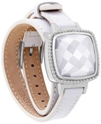 Macy's Ela Smart Jewelry Double Leather Wrap Bracelet In Quartz 13 1 5 Ct. T.W. And 14K Gold Plated Stainless Steel White