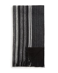 The Men's Store At Bloomingdale's Striped Wool Scarf Black White