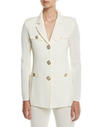 Misook Dressed Up Button Front Jacket Petite Cream