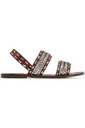 Maje Fatale Woven Leather Sandals Brown