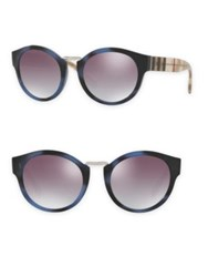 Burberry 50Mm Check And Camo Detail Round Mirrored Sunglasses Blue Horn
