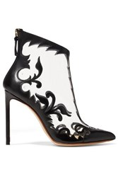 Francesco Russo Leather And Pvc Ankle Boots Black
