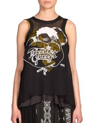 Sacai Embroidered Paradise Garage Tank Top Black
