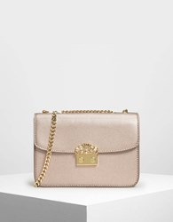 Charles And Keith Embellished Push Lock Clutch R.Gold