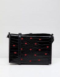 Liquorish Lip Embellished Across Body Bag Black Lips