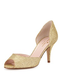 Sage Glitter Peep Toe Pump Gold Kate Spade New York