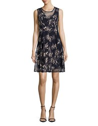 T Tahari Antoine Embroidered Floral Dress Navy
