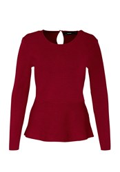 Hallhuber Peplum Jumper Red
