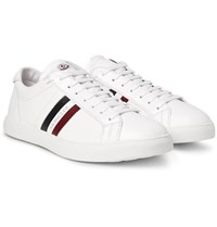 Moncler Monaco Striped Leather Sneakers White