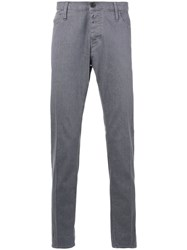 Emporio Armani Denim Fitted Trousers Men Cotton Elastolefin 31 Grey