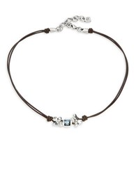 Uno De 50 Cosiche Swarovski Crystal And Double Leather Necklace Brown