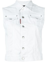 Dsquared2 Sleeveless Denim Jacket White