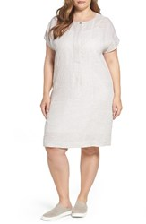 Persona By Marina Rinaldi Plus Size Women's Downtown Stripe Linen Shift Dress Dark Beige