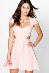 Boohoo Sweetheart Bodice Cut Out Skater Dress Nude