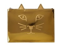 Charlotte Olympia Kitty Pouch Gold Metallic Calf Clutch Handbags