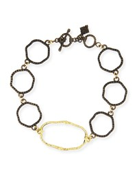 Armenta Old World Wavy Circle Link Bracelet With Diamonds Yellow Black